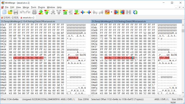 Comparing binary files - WinMerge 2 12 Manual